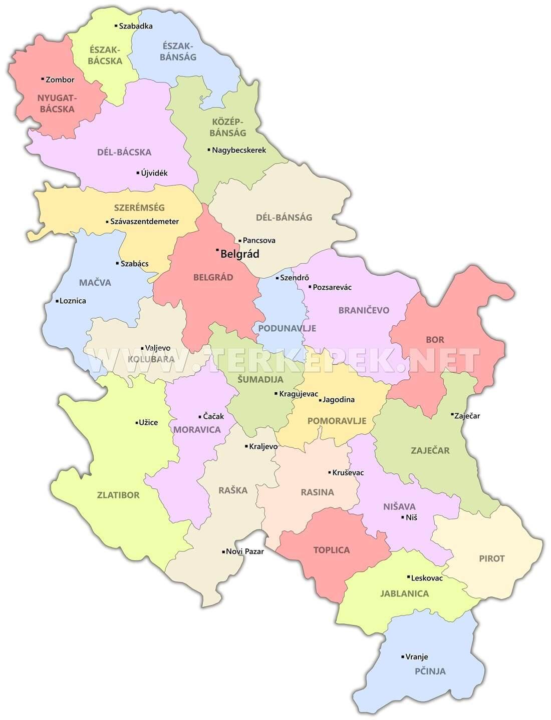 szerbia térkép Szerbia térképek